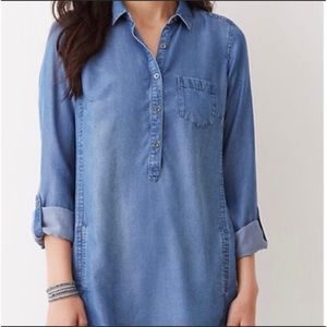 J Jill chambray tunic with pockets half button up